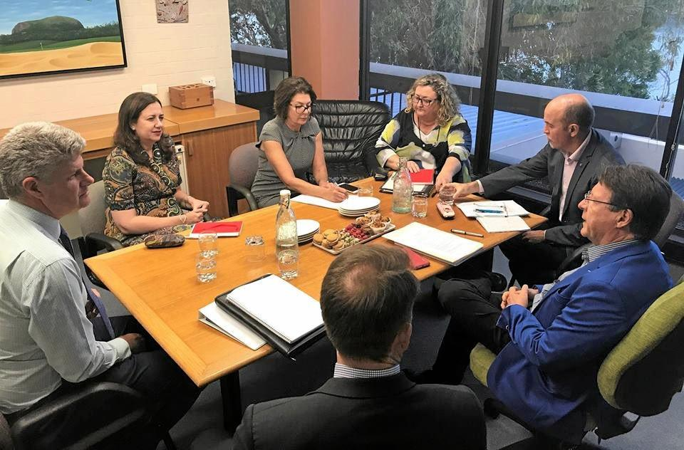 PREMIER MEET: Premier Annastacia Palaszczuk sits in with Mayor Tony Wellington, alongside Local Government Minister Sterling Hinchliffe and Noosa CEO Brett de Chastel.