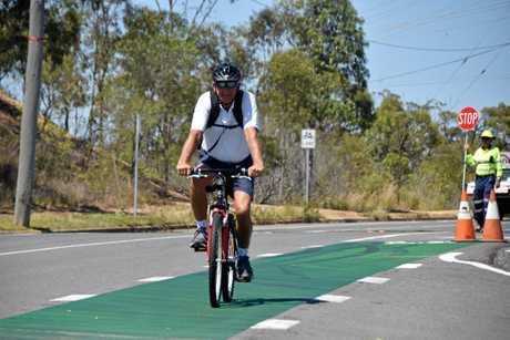 Gladstone region councillor Glenn Churchill uses the bike lane on Red Rover Rd.