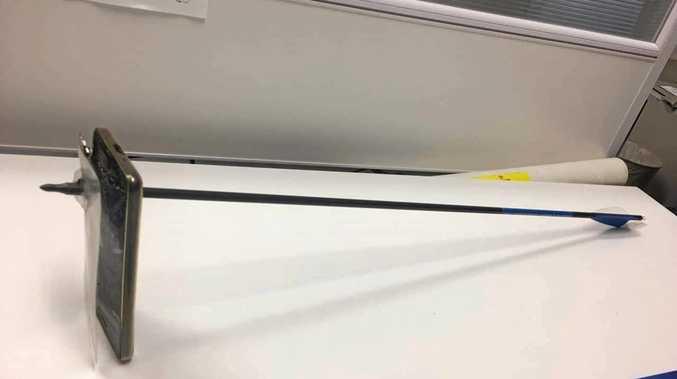 Резултат с изображение за mans phone saves him from arrow