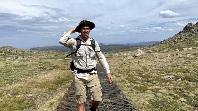 GETTING AROUND: Brad Smith, pictured on his trip to Mount Kosciusko, helped Janet and Alan Robinson (inset) when they found themselves in trouble while bushwalking.