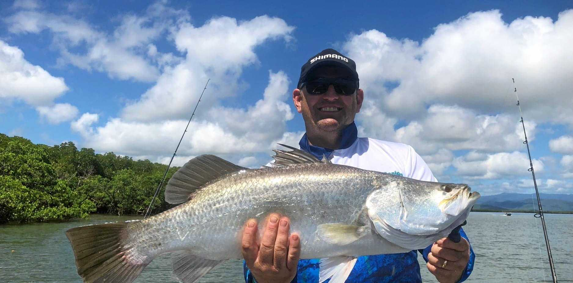 BIG BARRA: Stuart Bailey caught this 72cm barramundi with a live herring at Seaforth's net free zone.