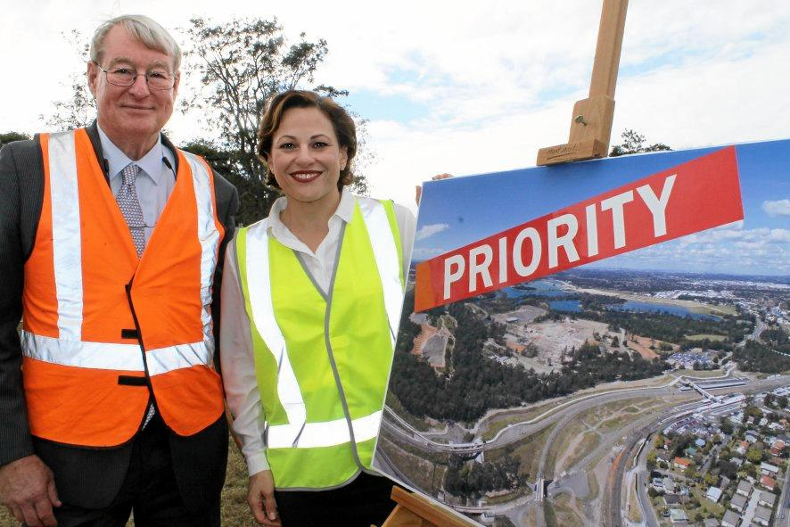 PRIORITY STATUS: Deputy Premier Jackie Trad and University of the Sunshine Coast Vice-Chancellor Professor Greg Hill  Greg Hill at the proposed site of the Petrie campus.