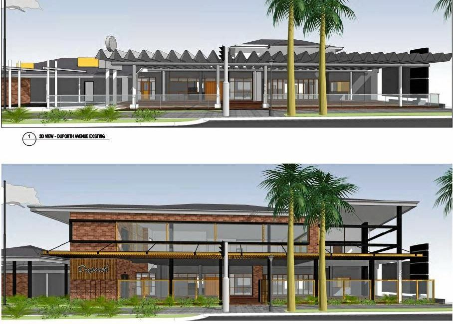 Plans are before the Sunshine Coast Council for an upgraded Duporth Tavern. Pictured is three-dimensional modelling of the current facility (top) and the proposed design (bottom).