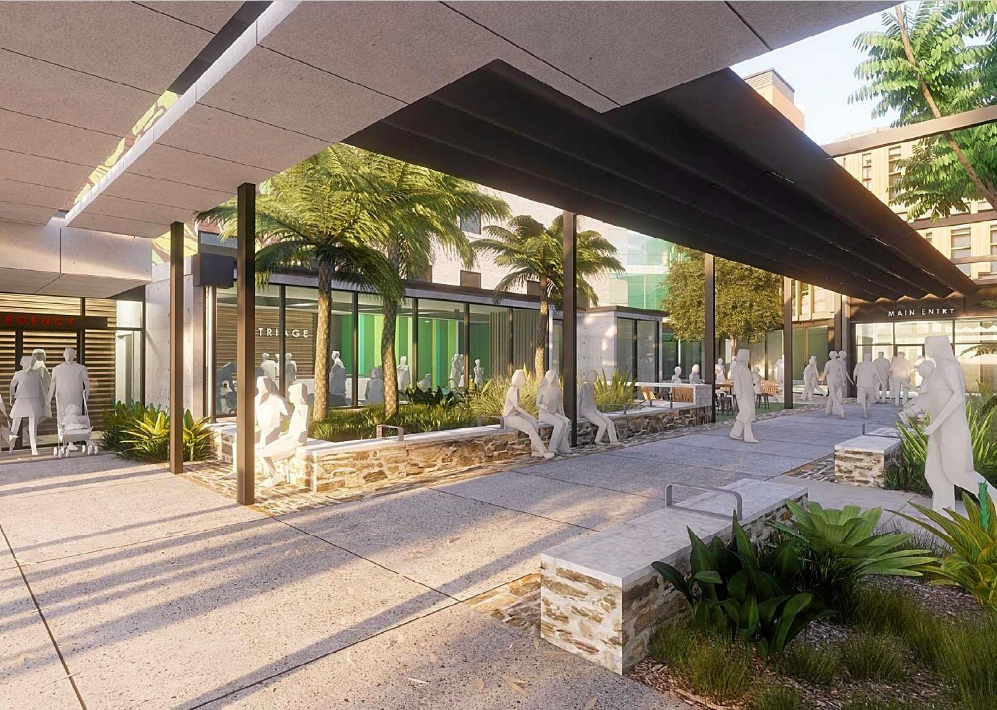 Artist's render of the Nambour Hospital courtyard after the redevelopment.