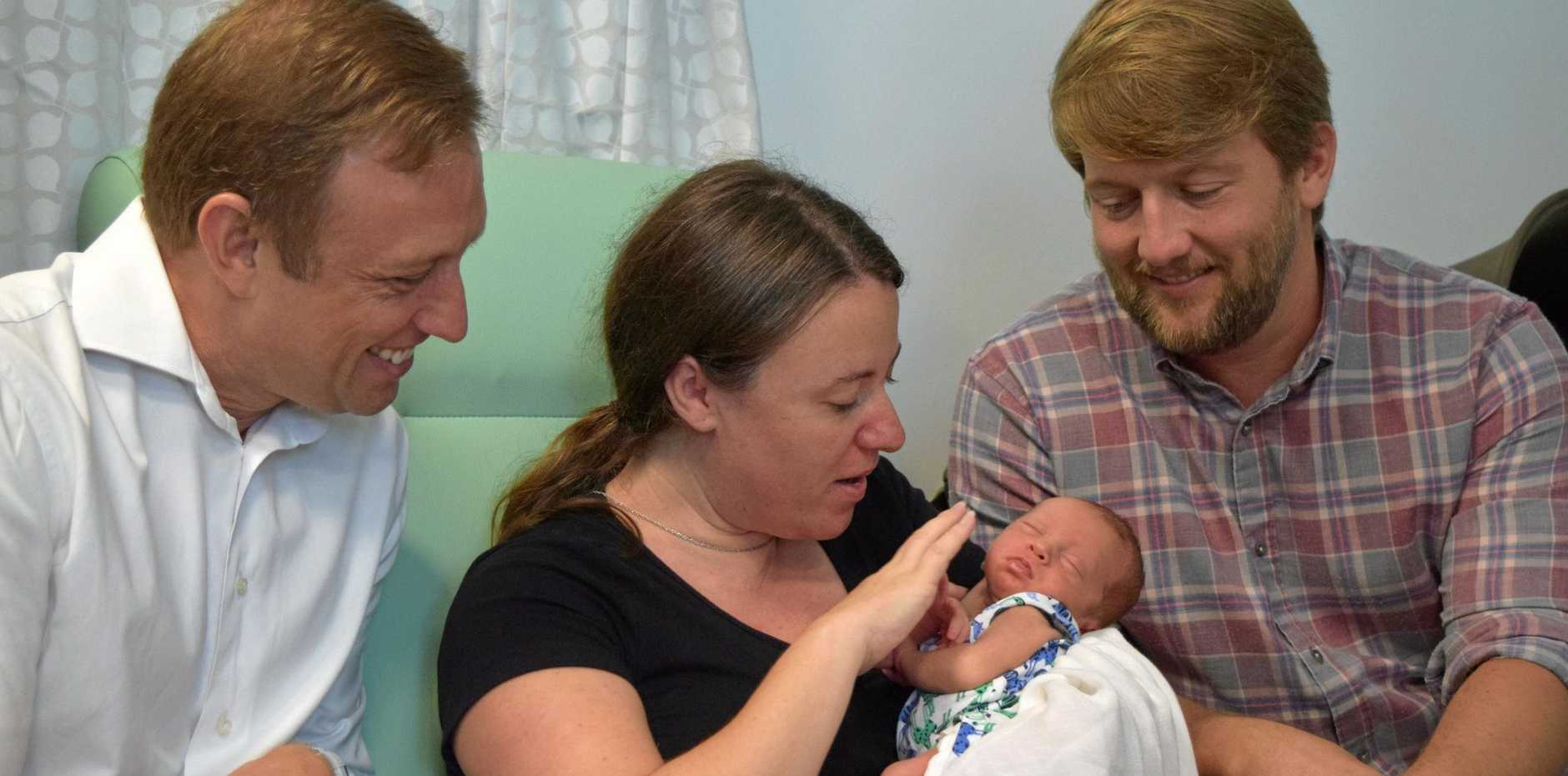 Queensland Health Minister Steven Miles met with new parents Natalie and Stephen Quinn, along with their new bundle of joy, Felix, at Sunshine Coast University Hospital's new and improved neonatal unit.