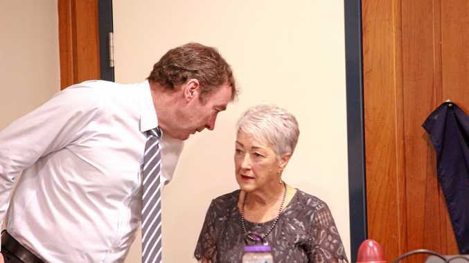 CEO David Keenan speaks with Mayor Tracy Dobie at a Southern Downs Regional Council meeting in Warwick in 2019.