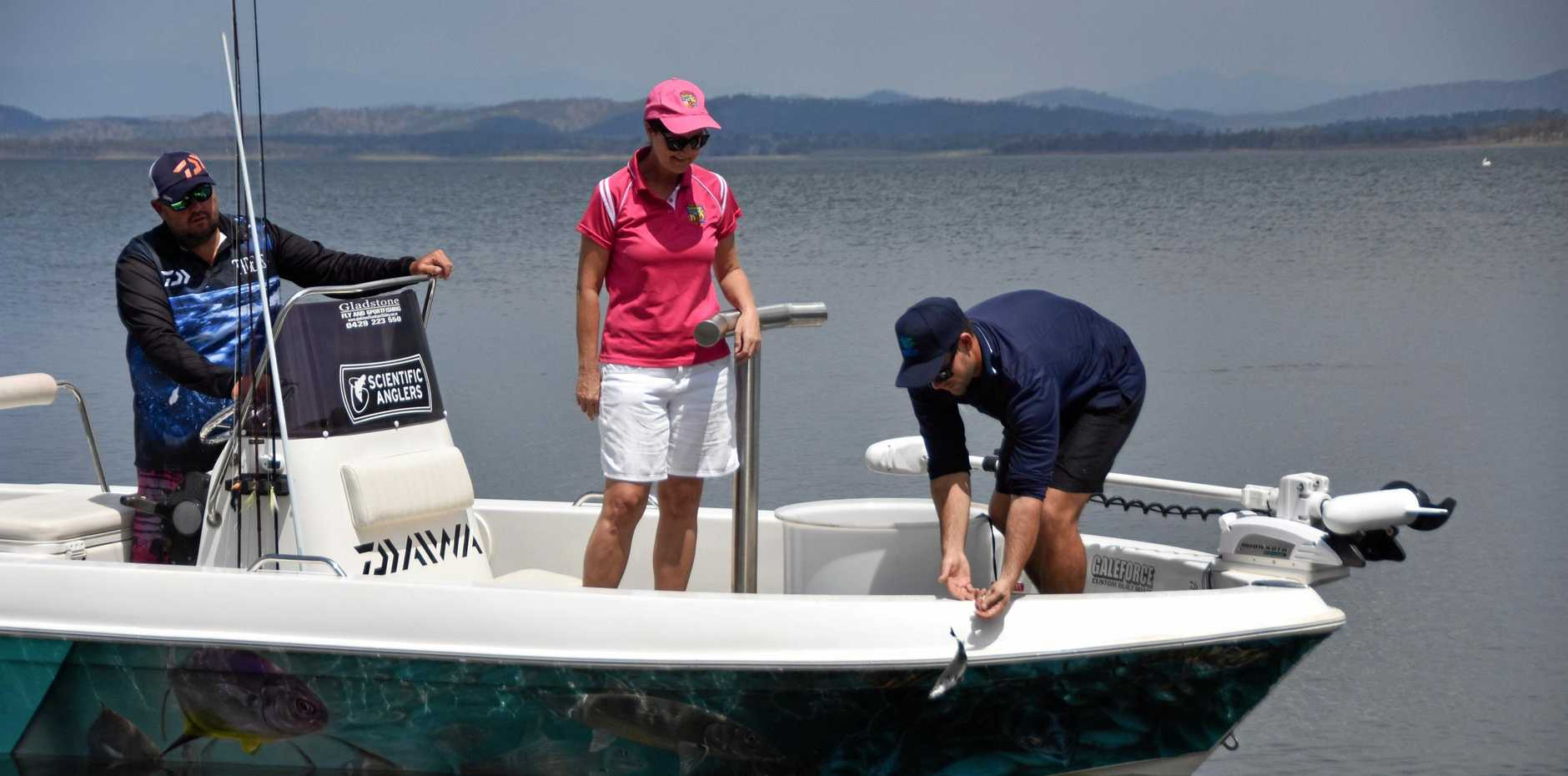 BABY BARRA: Gladstone Fly and Sportfishing owner Justin Nye, Boyne Tannum HookUp president Jennifer McGuire and Gladstone Area Water Board hatchery and fishery manager Thomas Hayes at Lake Awoonga releasing about 450 barramundi fingerlings.
