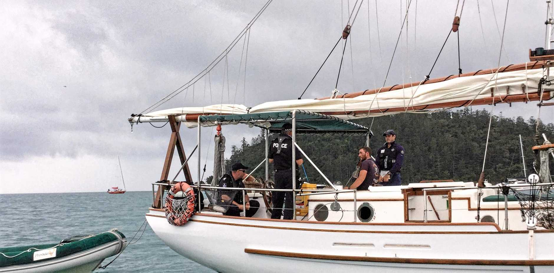 ON PATROL: Whitsunday Water Police pictured during an on-water drug testing trial last week.