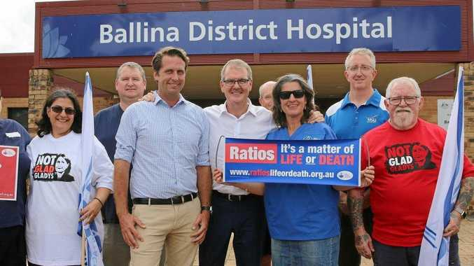 NSW Labor leader Michael Daley and Ballina candidate Asren Pugh commit to an $80.4 million redevelopment of Ballina District Hospital.