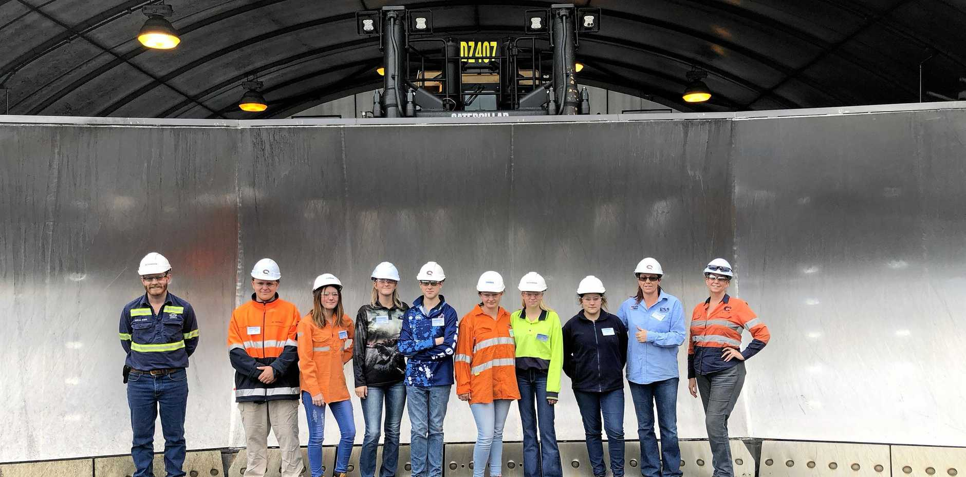 BACK AGAIN: Last year's Life Skills Programs participants during a field trip to Sonoma Mine. Pictured: Will Birkett, Kristal Chapman, Sharni Wallace, Jarryd May, Kia Altmann, Courtney Sanim, Brittany McGregor, Heather Brown (Facilitator) and Joanne Byrne (Q Coal).