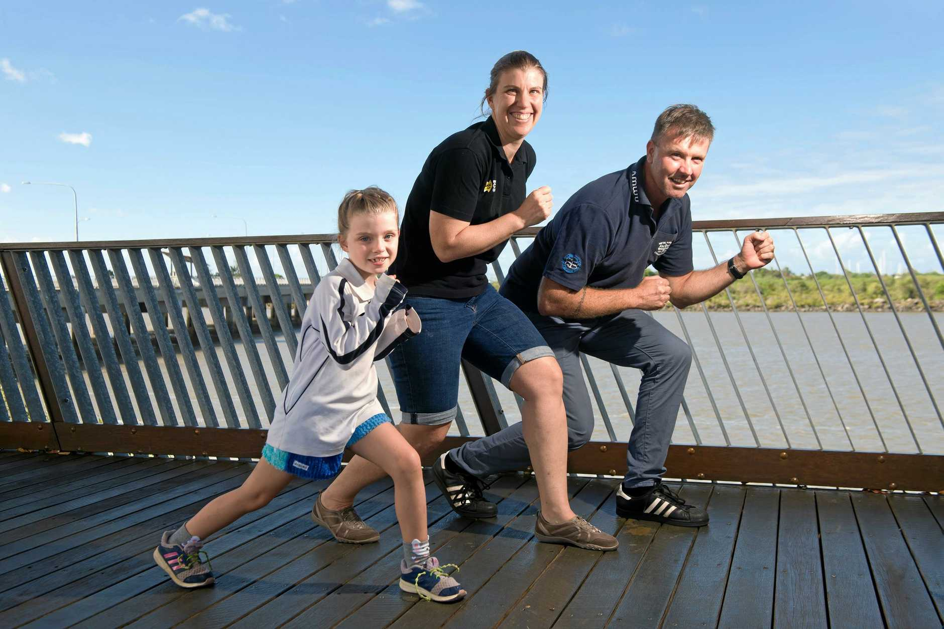 READY, STEADY, GO: Zara Hegerty, 7, Cynthia Hegerty, and Jason Lund are ready for Mackay's Amazing Race on March 16.