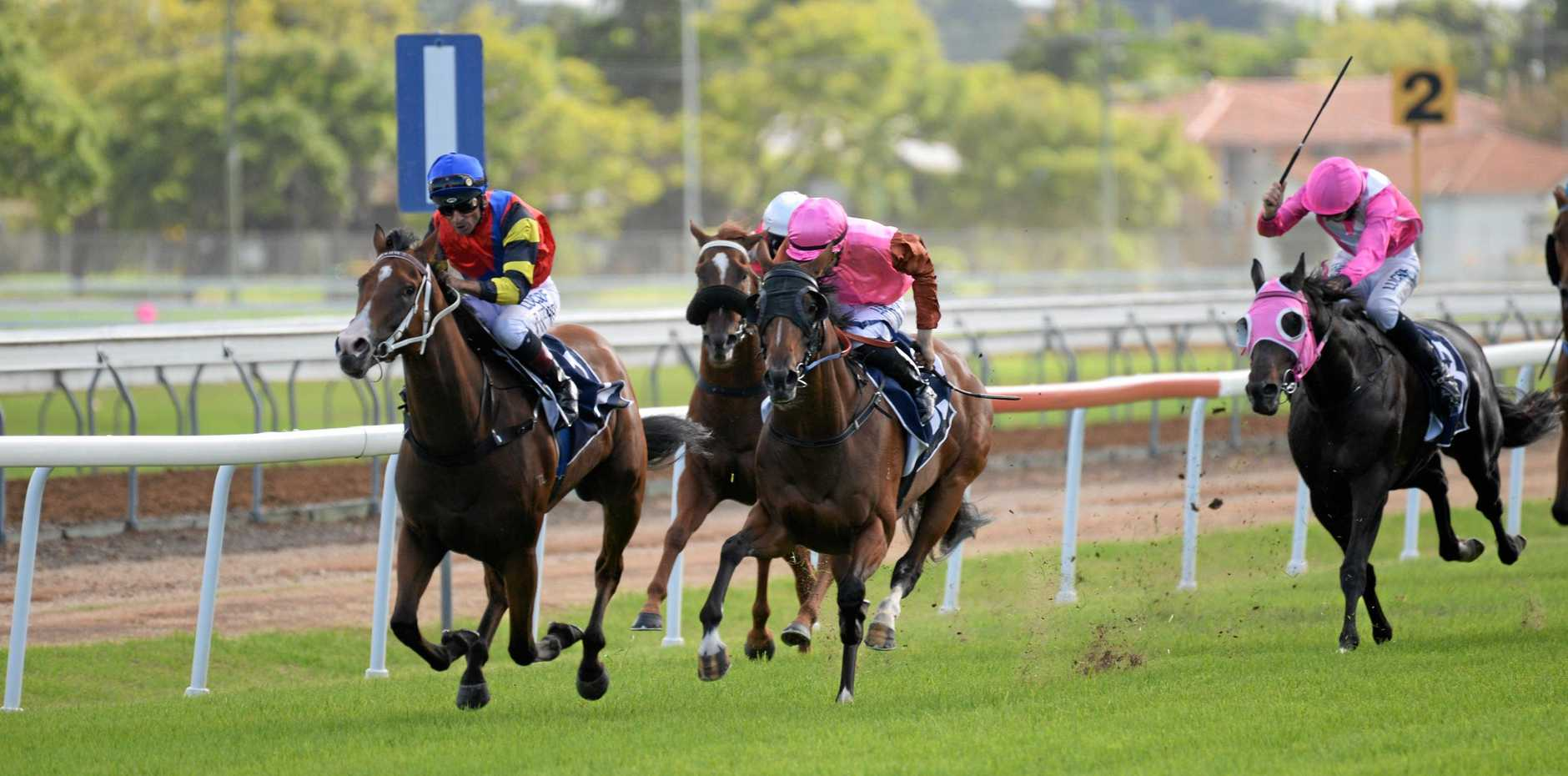 Brisbane jockey Robbie Fradd streaks clear to win the $150,000 NRRA Country Championships qualifier on board Snitz, trained by Matt Dunn, at Clarence River Jockey Club.