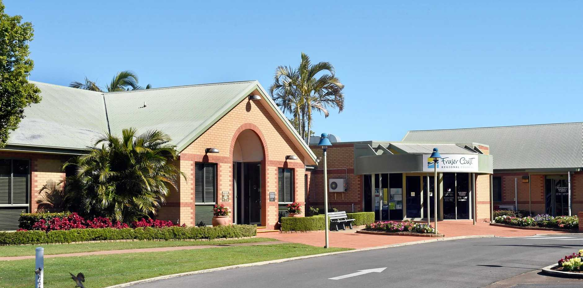 TENDERS COME IN: The current Fraser Coast Regional Council administration building and chambers in Hervey Bay. Councillors will vote on one of the nominated sites for the new building in Pialba at the next council meeting.