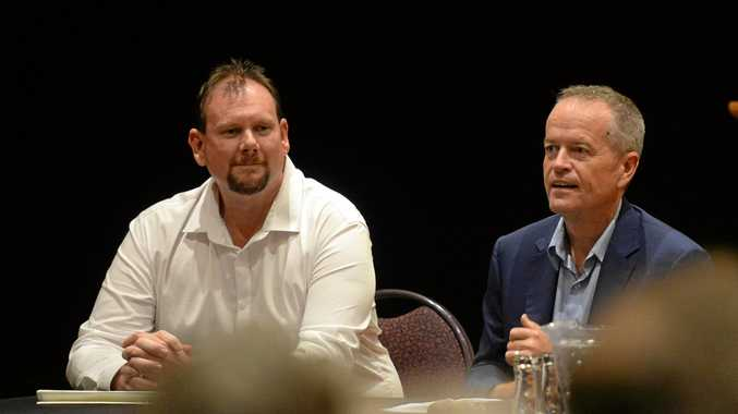 COAL SUPPORTERS: Labor's candidate for Capricornia Russell Robertson and leader Bill Shorten at last year's town hall meeting in Rockhampton.