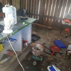 DISGUSTING: The drug lab found at an Electra St house.