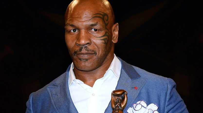 LAS VEGAS, NV - AUGUST 09: Former boxer Mike Tyson inducts Evander Holyfield (not pictured) into the Nevada Boxing Hall of Fame at the second annual induction gala at the New Tropicana Las Vegas on August 9, 2014 in Las Vegas, Nevada. (Photo by Ethan Miller/Getty Images)