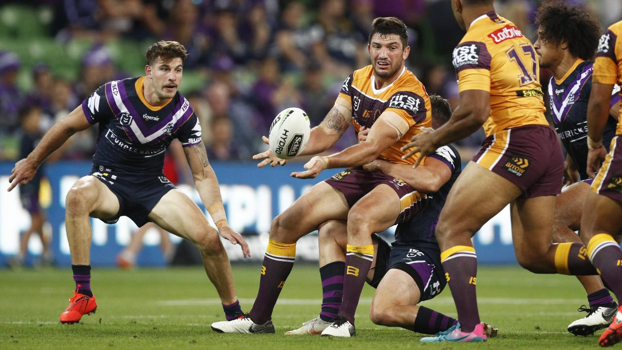 Matt Gillett tries to get the ball away. Picture: AAP Image/Daniel Pockett