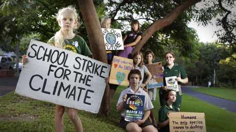 Brisbane students preparing to skip school include Thea, Alex, Zac, Norma, Elia, Sunny, Claudia and Sara. Picture: AAP/Megan Slade