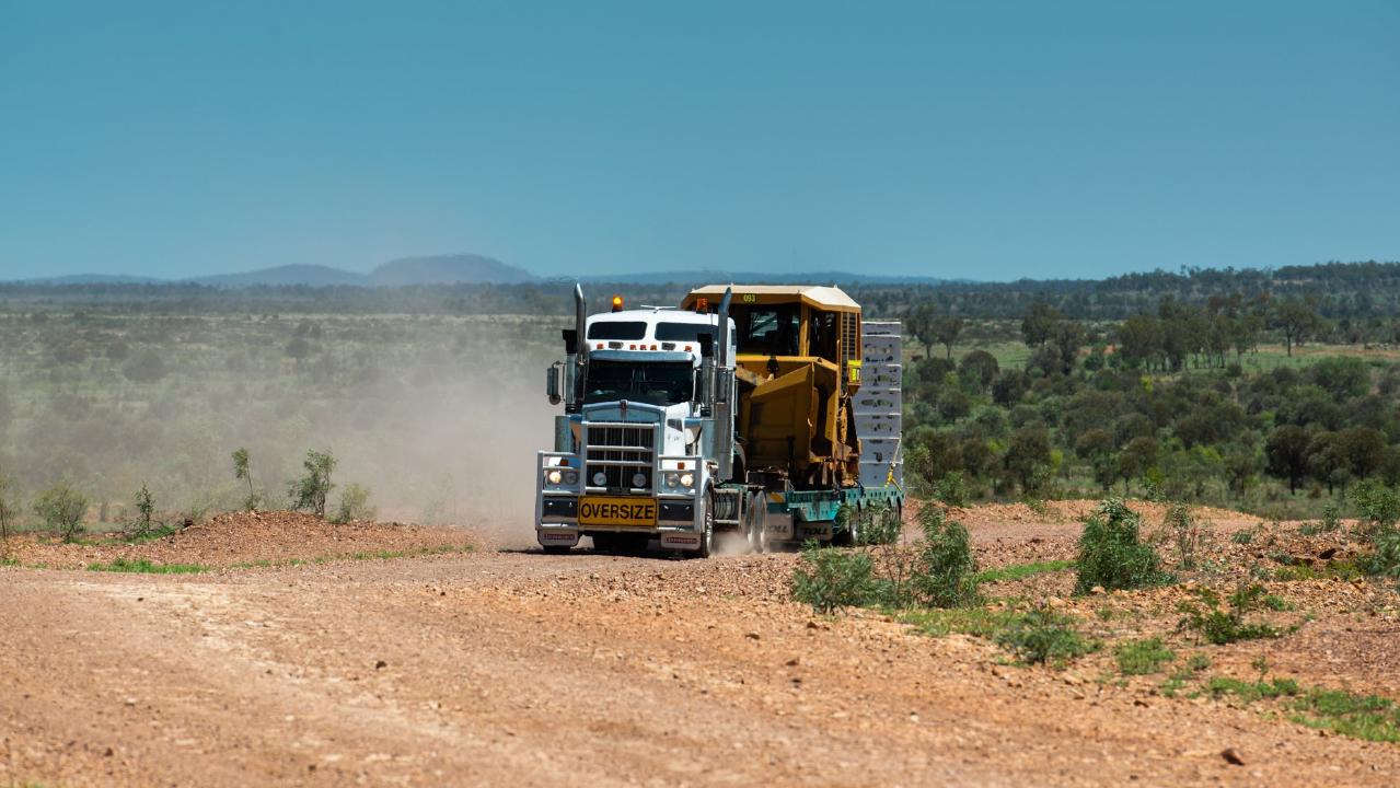 Construction equipment arrives at the Adani Carmichael Coal Mine. Picture: SUPPLIED