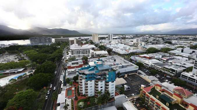 An aerial view of the Cairns CBD in the early morning after rain. Picture: BRENDAN RADKE