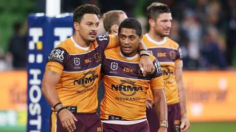 Alex Glenn and Anthony Milford leave the field after the match. Picture: Michael Dodge/Getty Images