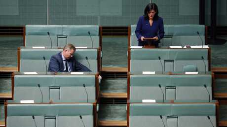 Craig Laundy was the only government MP to stay and listen when Julia Banks announced she was leaving the Liberal Party. Picture: Gary Ramage