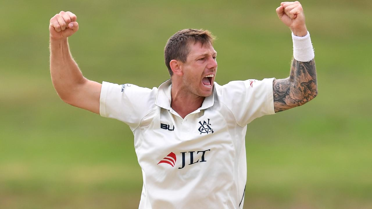 James Pattinson celebrates after dismissing NSW's Nick Larkin for a duck. Pic: AAP
