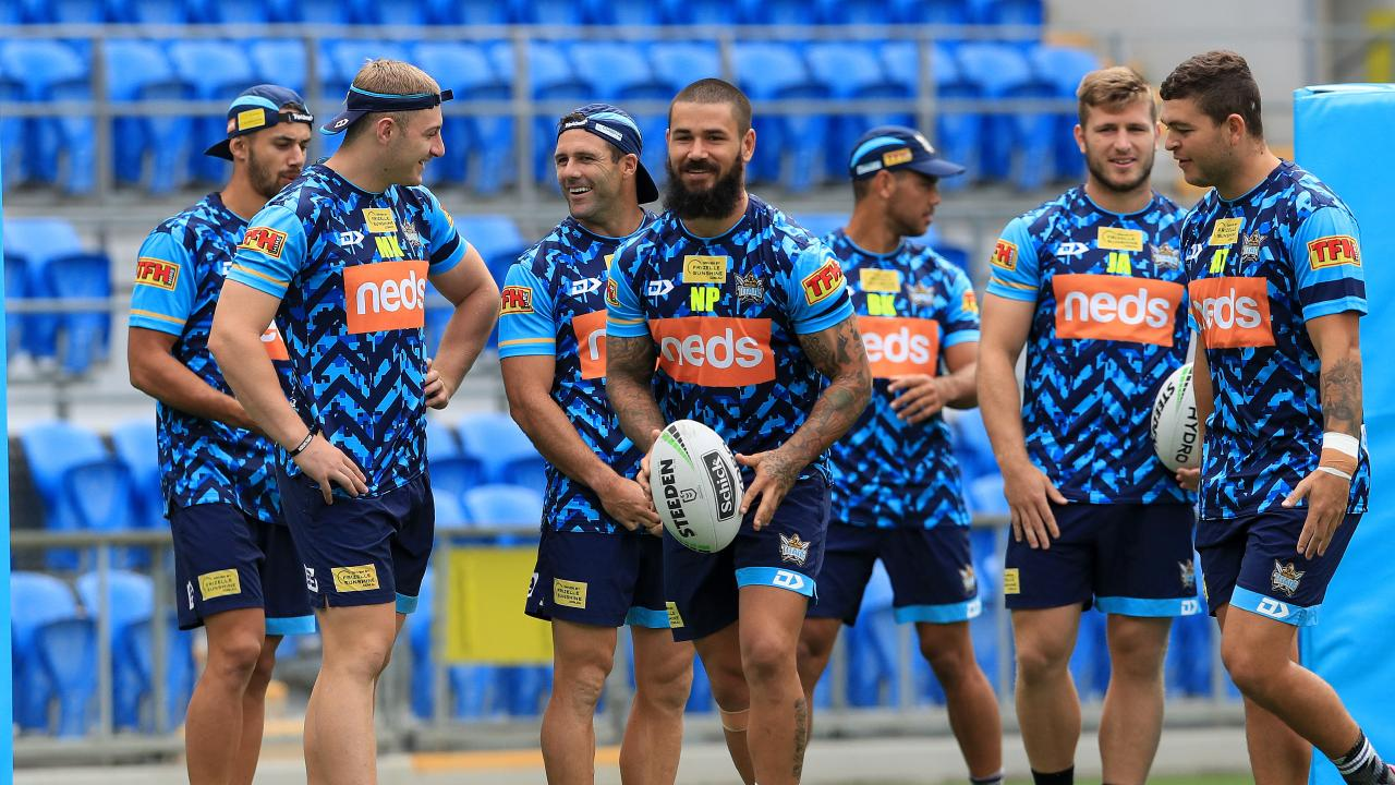 Peats and teammates at Cbus Super Stadium, where they will host Canberra on Sunday night. Picture: Adam Head