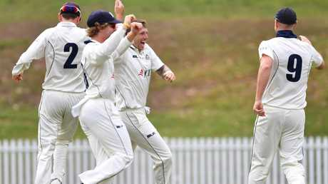 Pattinson (centre) celebrates taking the wicket of Moises Henriques. Pic: AAP