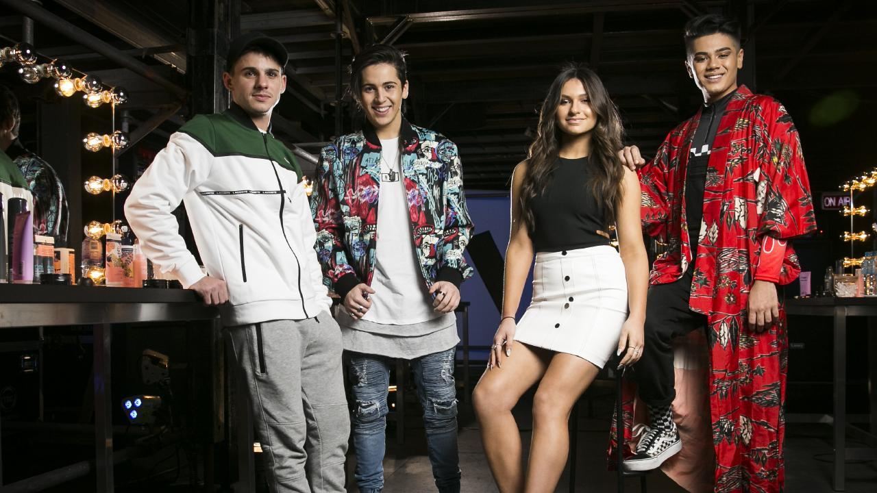 The Voice 2018 grand finalists: Sam Perry, Aydan Calafiore, Bella Paige and Sheldon Riley. Picture: Dylan Robinson