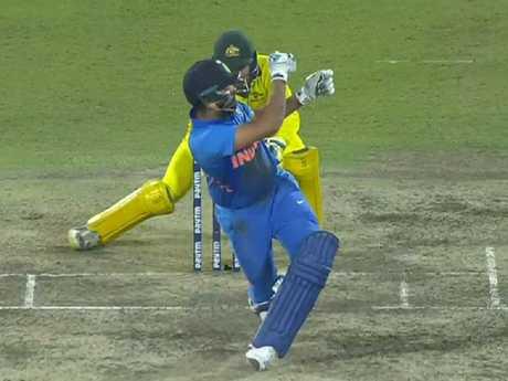 Rohit Sharma's bat was somewhere down near fine leg.