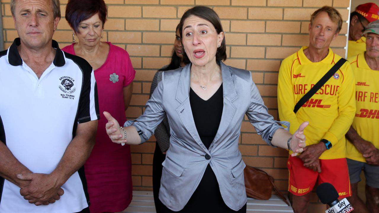 NSW Premier Gladys Berejiklian on the campaign trail at Brunswick Heads Surf Club. Picture: Nathan Edwards