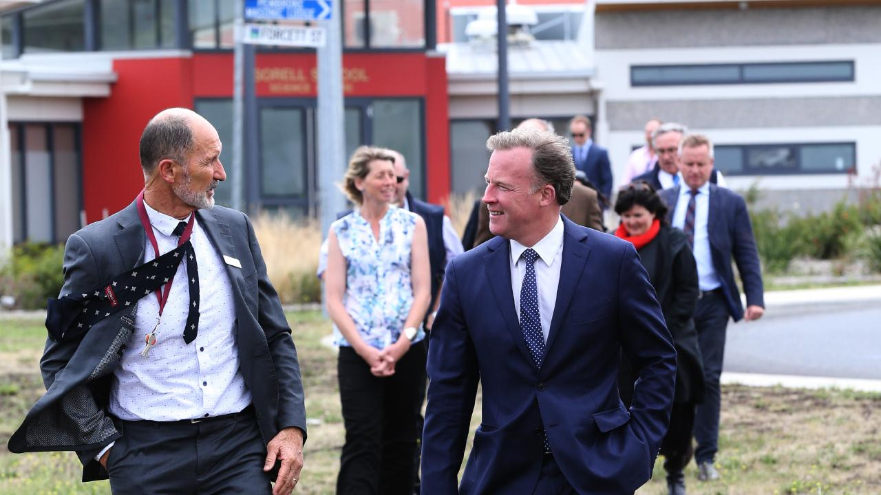 Sorell HIgh School principal Andy Bennett, left, and Premier Will Hodgman after a funding announcement at the school. Picture: CHRIS KIDD