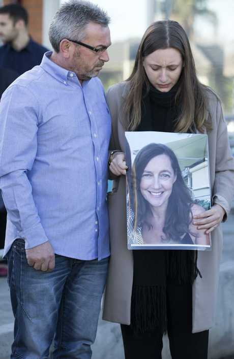 A heartbroken Sarah Ristevski stands by her father as they plead for assistance in locating her mother. Three years later, Borce Ristevski pleaded guilty to killing the 47-year-old. Picture: Sarah Matray