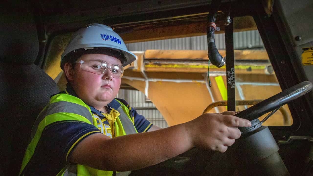 Matty Wilson would love to get a job in the mines when he's old enough. Picture: Steve Vit
