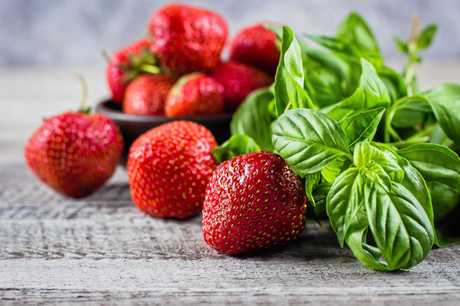 An interesting but delightful combination - strawberries and basil.