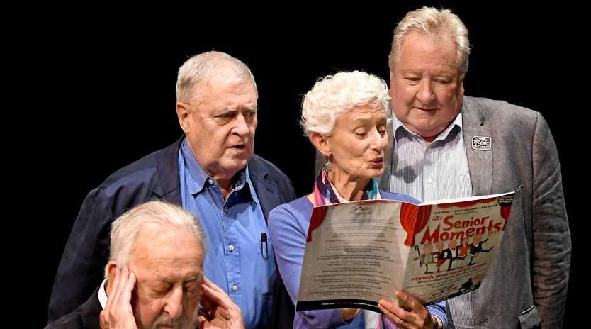 Max Gillies, Benita Collins, John Wood and Geoff Harvey ham it up for Senior Moments.
