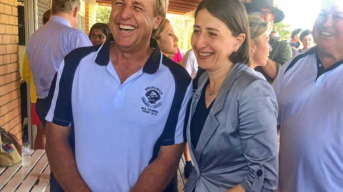 NSW Premiere Gladys Berejiklian was in Brunswick Heads with Nationals candidate for the seat of Ballina Ben Franklin on Wednesday afternoon to announce the NSW government will invest $3.8million in the redevelopment of Brunswick Heads Surf Club. She is pictured here with Brunswick heads SLSC President Craig Reid.