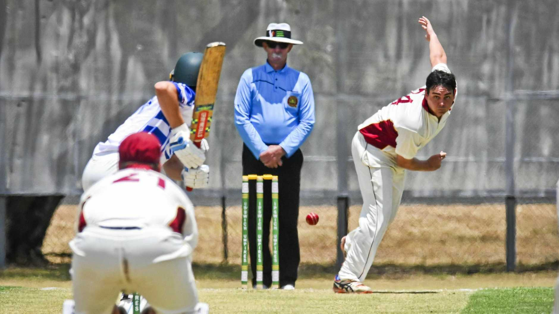 TIGHT TUSSLE: Centrals bowler Rhys O'Sullivan delivers an accurate line to the Brothers batsman during an earlier first division clash this season.