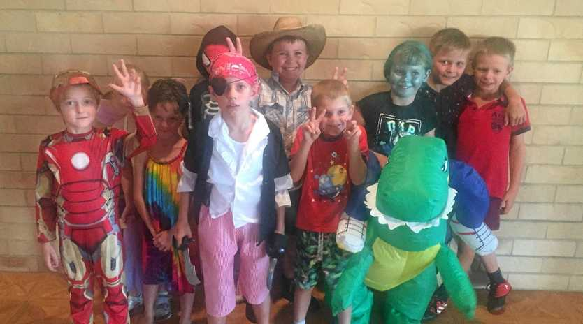 COSTUMED CAPERS: Texas students in costume for dress-up day.