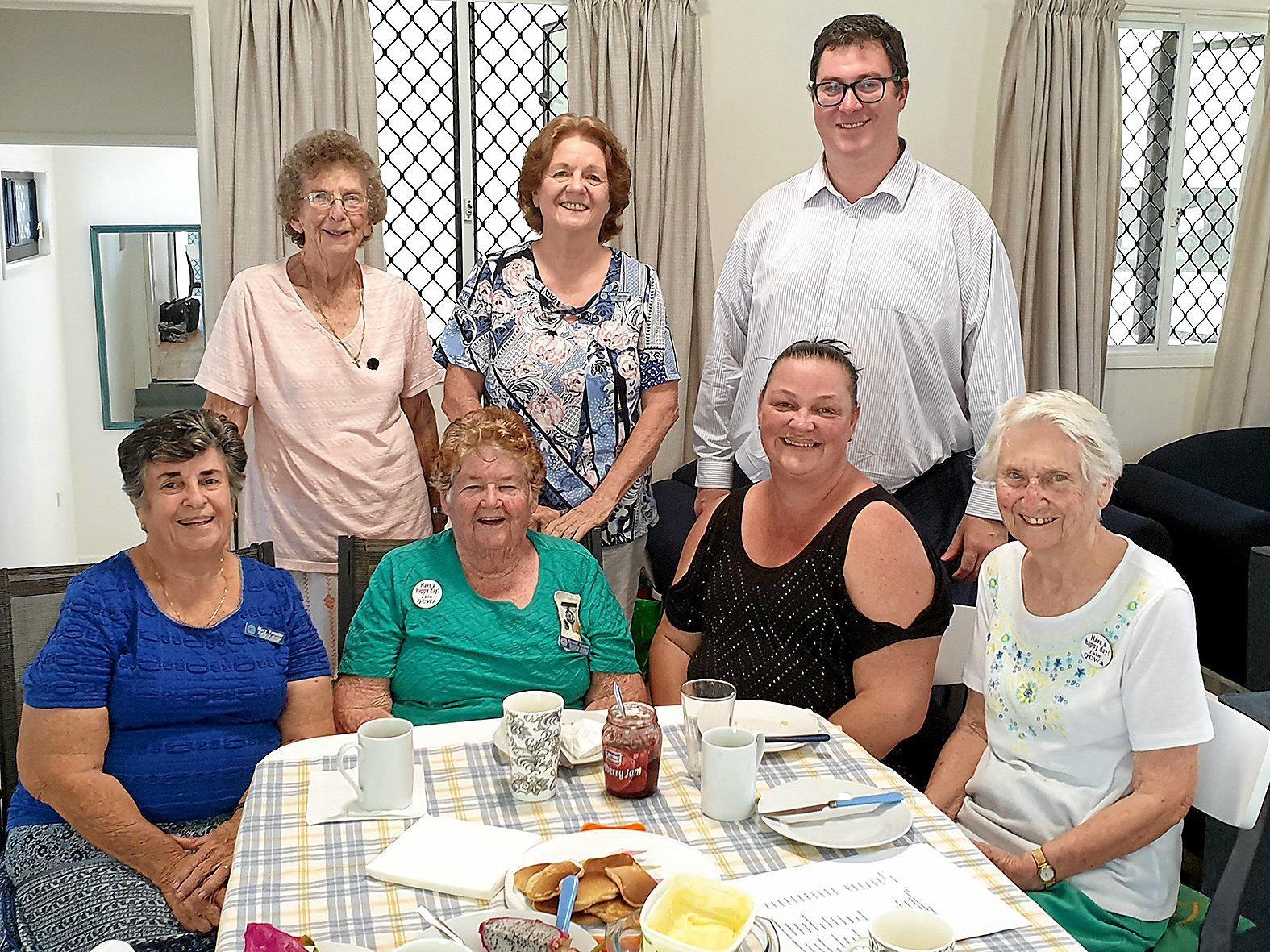 QCWA members, from left, Mary Vassallo, Joan Wright, Denise Gamble, Carol Tandridge, Melissa Van Straten and Beryl Edwards, with Dawson MP George Christensen.