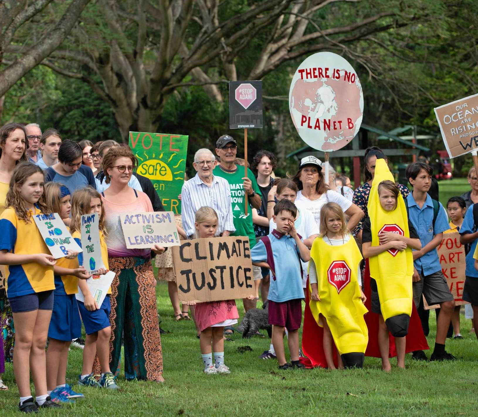 Protesters call for action on climate change.