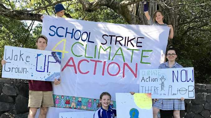 TIME FOR ACTION: Jonah Asha, Elsa Bertram (back) Dylan McConville, Jess Dunn (middle) and Ivy Bertram will join students from around Australia for the School Strike 4 Climate Action tomorrow (Nov 30) at 10am at Spinks Park, Lismore.