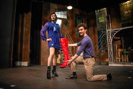 Kinky Boots cast members Angelo Conway and Daniel Hair.