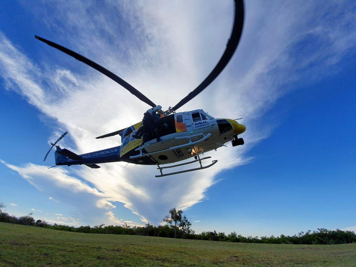 The RACQ CQ Rescue Helicopter now headed out on a search and rescue for a missing person near the Molle Island group.