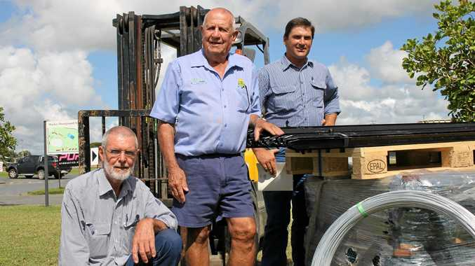 RECOVERY ASSISTANCE: Working to help Blaze Aid and properties affected by flooding in northwest Queensland are  Mackay Show beef cattle committee secretary Ross Dodt, Mt Ossa Rural's Col Stephen and committee president Anthony Noonan.