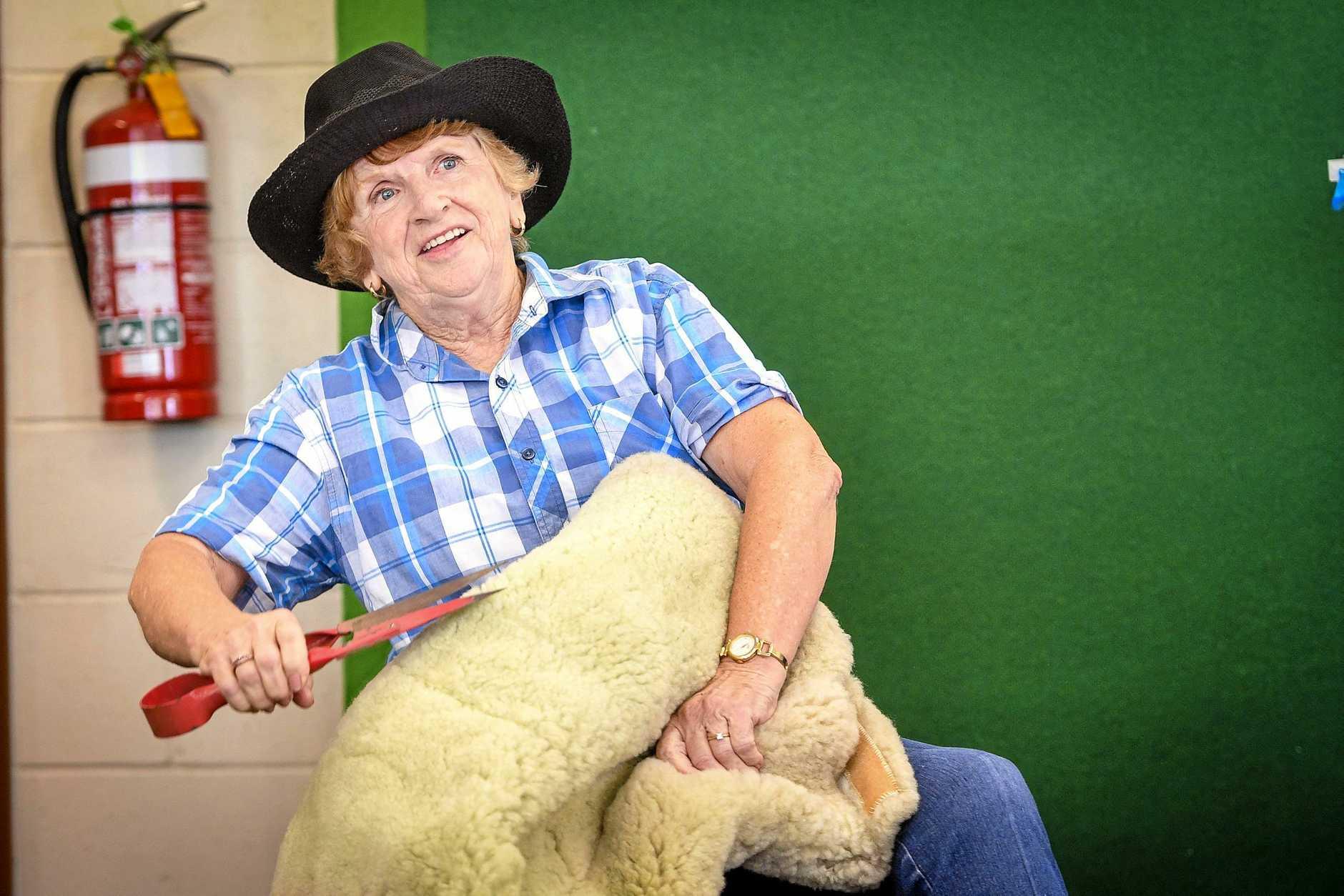 Pam Rutherford as famous Australian sheep shearer Jackie Howe the Gladstone Presbyterian Women's Association fundraiser.