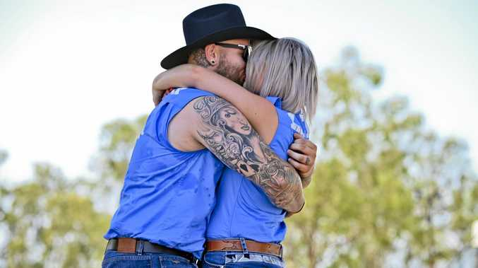 Kaelin Wilkins and Tristan Painter, of Brisbane got engaged at CMC Rocks. Picture: Cordell Richardson
