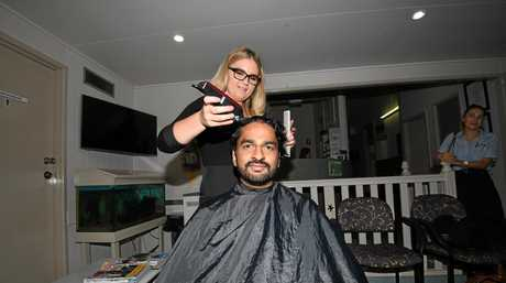 Gympie shave for a cure - Mat Ranaweera and Codie Winston