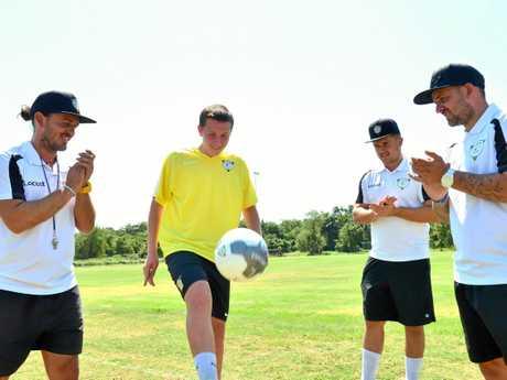 K3 coaches Korey, Kallum and Kyle Nix with UK player Rory Stenhouse.